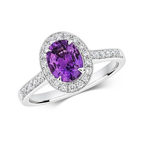 Platinum 0.35 carat Diamond and 1.38 carat Purple Sapphire Halo Pave Ring